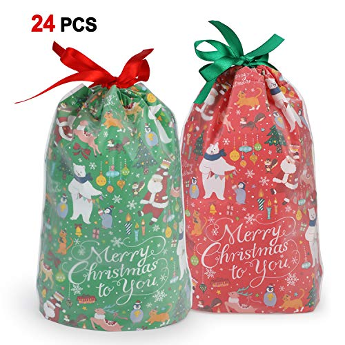 Holiday Drawstring Goody Bags - Konsait 24Count Christmas Party Bags, Christmas Drawstring Gift Bags, Christmas Goody Bags, Christmas Holiday Treats Bags Xmas Accessories Christmas Party Favors Supplies Candy Presents Or Gift Wrapping