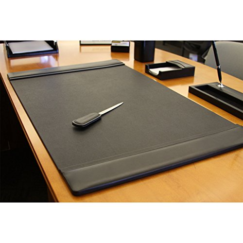 Dacasso Black Leather Desk Pad With Side Rails 38 Inch By
