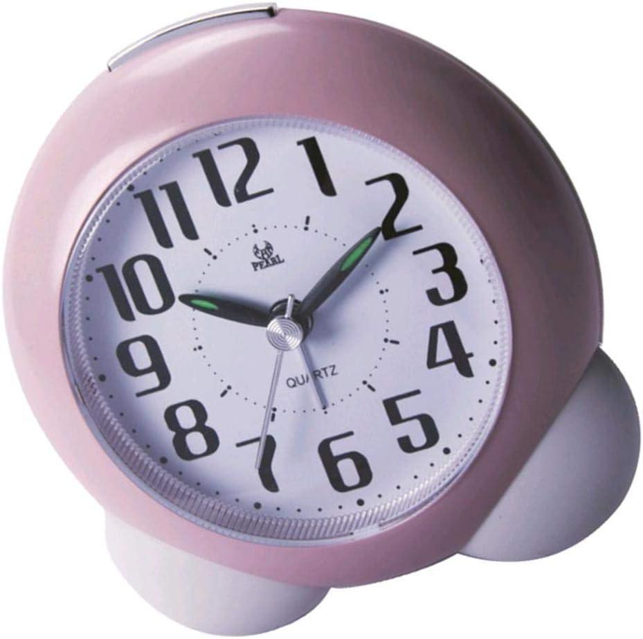 Blue 4.01x1.91x4.25inch LOVIVER Non Ticking Analog Alarm Clock With Nightlight Cartoon Desk Clocks For Kids