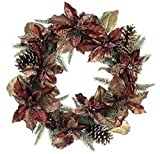 22'' Wreath Flower Artificial Silk Poinsettia Pine Cone