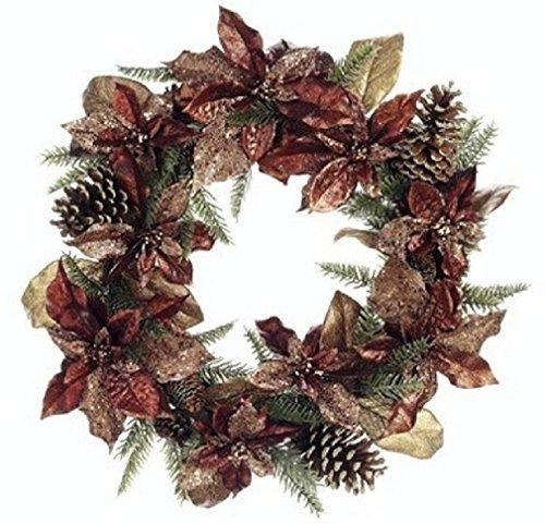 22'' Wreath Flower Artificial Silk Poinsettia Pine Cone by Black Decor Home