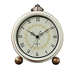 Maxspace Alarm Clock, Retro Non-Ticking Table Clock Battery Operated Small Alarm Clock with Quartz Analog, Desk Clock for Bedrooms Living Room Decor Kids (Roman)