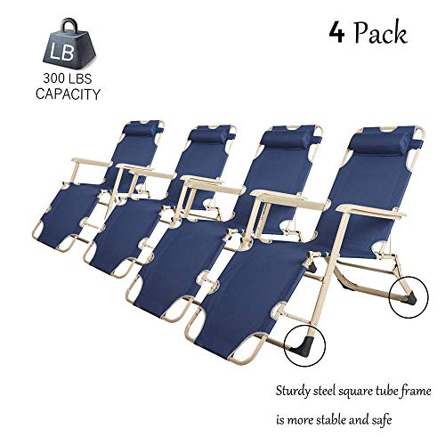Dporticus Set of 4 Large Outdoor Patio Portable Folding Adjustable Chaise Lounge Chair with Footrest and Removable Pillow 3 Pack, Blue