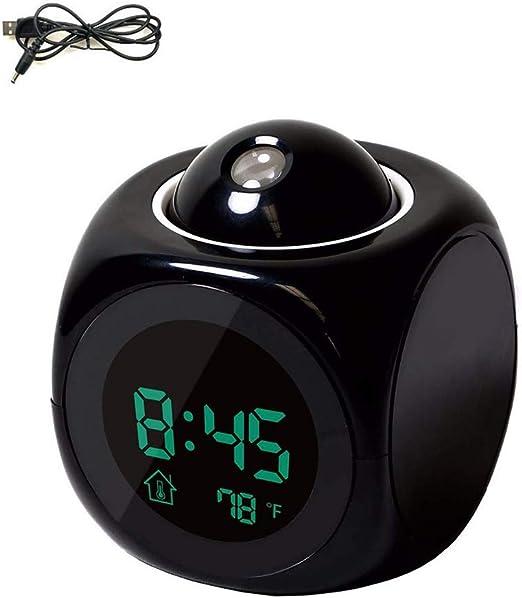 LCD de proyección de pared reloj despertador, multi-función de voz ...
