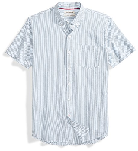 Goodthreads Men's Standard-Fit Short-Sleeve Seersucker Shirt, Blue/White, -