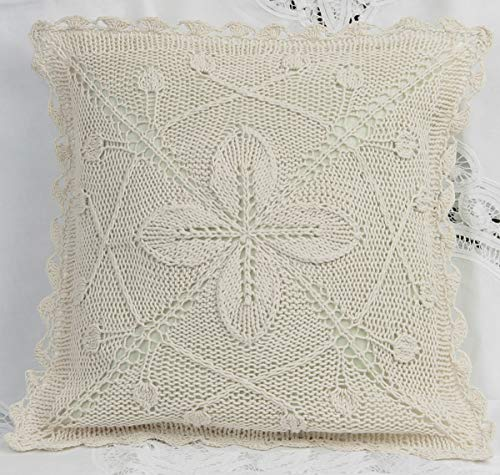 "Creative Linens Cotton Crochet Pillow Cushion COVER 16x16"" E"