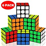 Speed Cube Set, Aitey 3x3 Full Size Magic Cube Bundle Easy Turning and Smooth Play Puzzle Party Favor for All Age Kids and Adults (6 Pack)