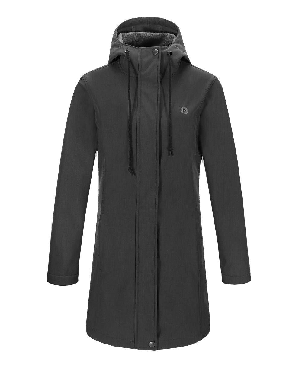 Outdoor Ventures Women's Veda Lightweight Waterproof Windbreaker Softshell Jacket Hooded Long Coat by Outdoor Ventures