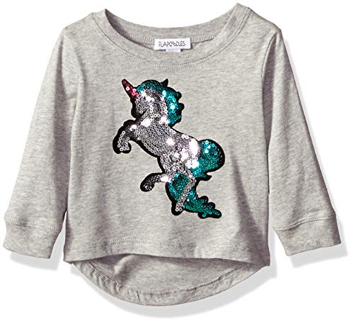 Flapdoodles Baby Girls Long Sleeve hi-Low tee with Graphic Sequins, Heather Grey, 12 Months - Flapdoodles Baby Girl