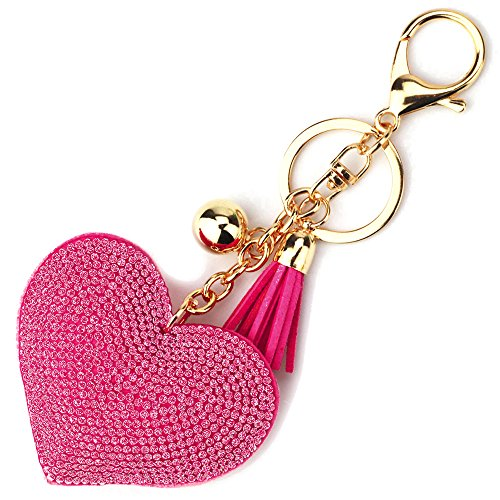 Elesa Miracle Girl Women Love Heart Tassel Keychain, Purse Bag Charm, Handbag Accessories, Car Key Chain (Hot Pink)