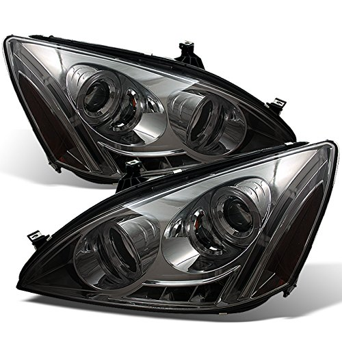 (For Honda Accord Smoked Smoke Dual Halo Ring DRL LED Projector Headlights Front Lamps Replacement Pair)