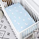 TILLYOU-Bamboo-Crib-Sheets-Set-Woodland-Printed-Toddler-Bed-Sheets-for-Baby-Girls-and-Boys-Hypoallergenic-Soft-Breathable-28×52-2-Pack-Fairy-Messenger-Blue-White