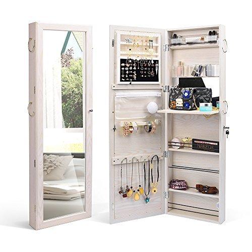 TWiNG clóset de joyas para puerta de pared montado organizador con cerradura Joyero con espejo, color blanco