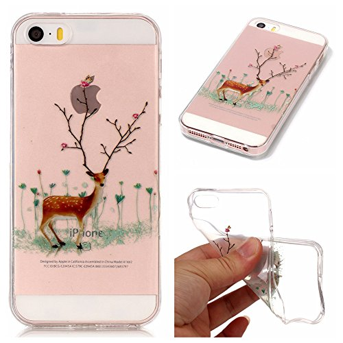 iPhone 5C Case, [Christmas] Series Ultra Thin Painting Case Transparent Soft TPU Xmas Phone Anti-Scratch Protective Cases Cover for Apple iPhone5C-B