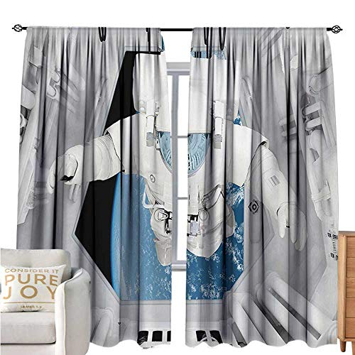 bybyhome Outer SpaceFashion curtainAstronaut Inside Spaceship Cosmic Journey Celestial World Universe ThemeBreathability W72 xL108 White and Blue (Fireplace Screen Celestial)