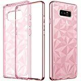 Samsung Galaxy Note 8 Case, Galaxy Note 8 Case Clear, BENTOBEN Slim Clear 3D Prism Design Hybrid TPU PC Bumper Shockproof Protective Phone Case for Samsung Galaxy Note8 (2017), Rose Gold