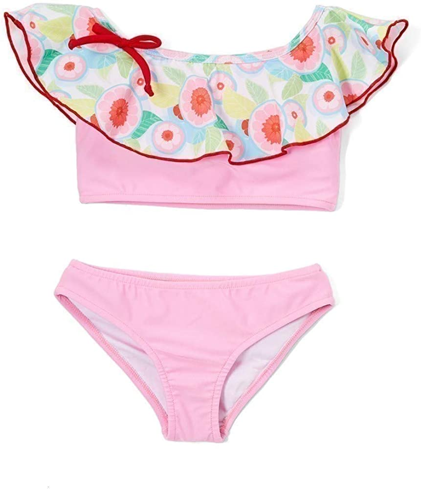 Azul Little Girls Pink Sweet Jane Peasant Ruffle Bow Bikini 2 Pc Swimsuit 4-6