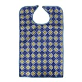 Waterproof Adult Eating Bib Clothing Protector Disability Aid Apron - Blue Grid