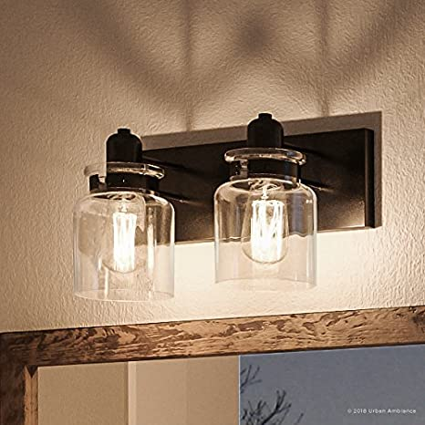 Luxury Modern Farmhouse Bathroom Vanity Light Medium Size 8 625 H X 13 25 W With Industrial Style Elements Olde Bronze Finish Uhp2141 From The Bridgeport Collection By Urban Ambiance Amazon Com
