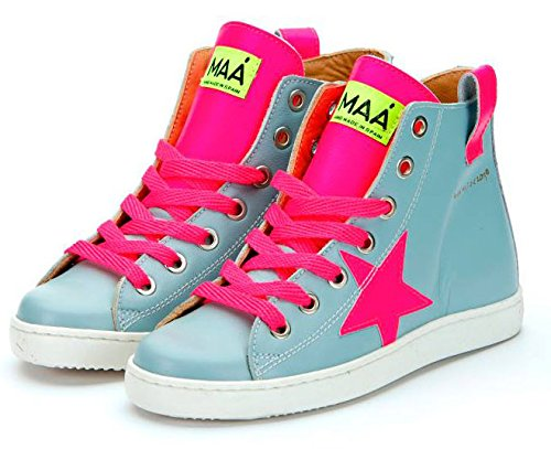 Spanische MAA ® Schuhe Leder Knöchel High Sneaker Halbschuhe grau Neon pink