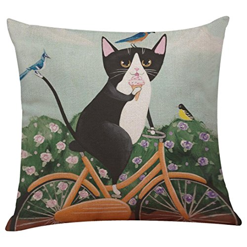Pillow Cases Cat with Bicycle Sofa Bed Home Decoration Festival Pillow Sham Cushion Cover Pillowslip (K, (Each Sham)