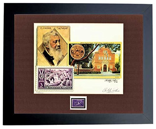 Christopher Paluso Signed - Autographed Baseball Centenntial Lithograph with Alexander Cartwright and Hall of Frame - BLACK Custom Frame with Original Unused 3 cent Postage Stamp - Limited Edition