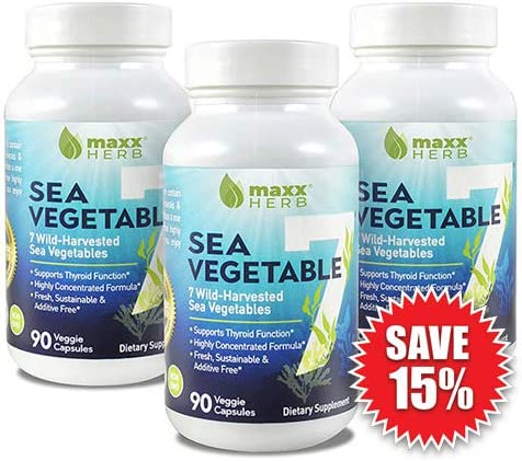 Maxx Herb Sea Vegetable 7 – Natural Iodine Supplement for Thyroid Support 270 Veggie Capsules, 3 Month Supply – All Natural Seaweed and Kelp Vegan Capsules