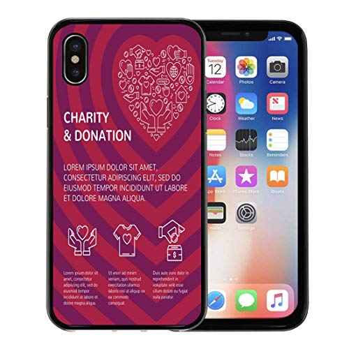 Emvency Phone Case for Apple iPhone Xs Case/iPhone X Case,Charity and Donation Graphic Flat in Heart Form Soft Rubber Border Decorative, Black (Best Crowdfunding For Nonprofits)