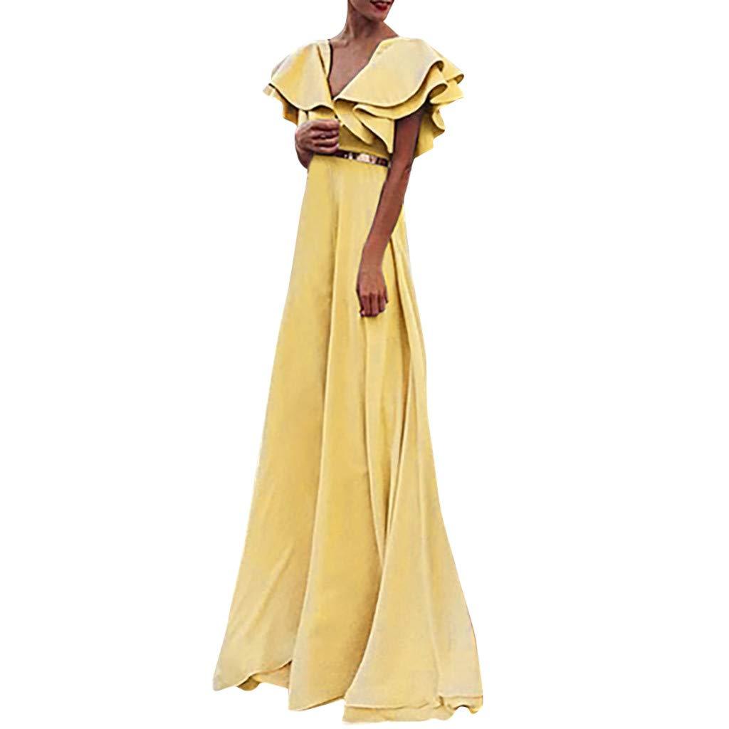 Soupliebe Sommerkleid Damen V-Ausschnitt MaxiKleid Einfarbig Frauen Elegantes Rüschen Dünnes Hochzeits Abendkleider Partykleid Ballkleid Mit Gürtel