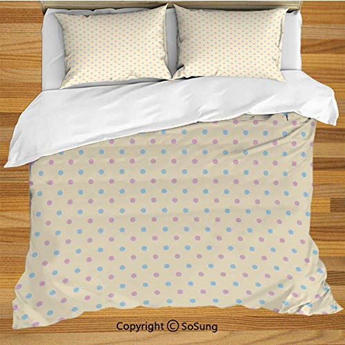 SoSung Polka Dots King Size Bedding Duvet Cover Set,Retro Polka Dots Small Coin Sized Little Spots Old Epochs Fashion Pattern Decorative 3 Piece Bedding Set with 2 Pillow Shams,Cream Blue Pink
