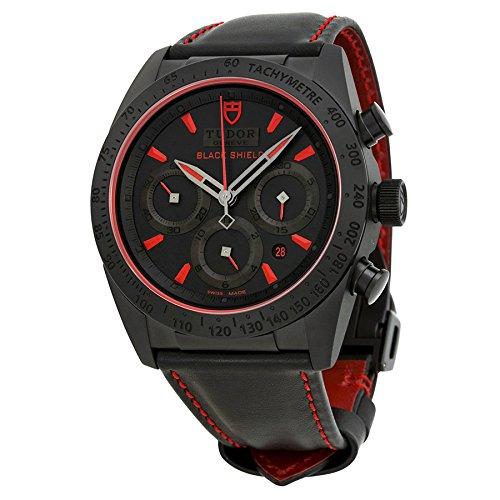 Tudor Fastrider Blackshieldクロノグラフブラックダイヤルブラック革メンズ時計42000 cr-bkls B00MOU8BXM