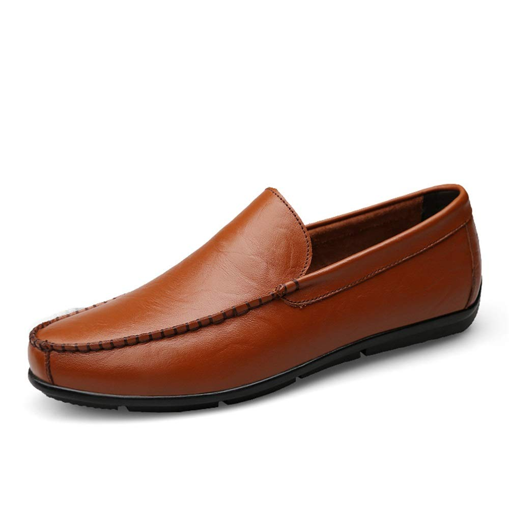 Reddish Brown XXY Men's Fashion Oxford shoes Driving Loafers Casual Simple Low Top Slip On Pure color Flexible Boat Moccasins
