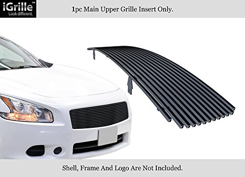 APS Compatible with 2009-2014 Nissan Maxima Upper Black Stainless Steel Billet Grille Insert N85218J