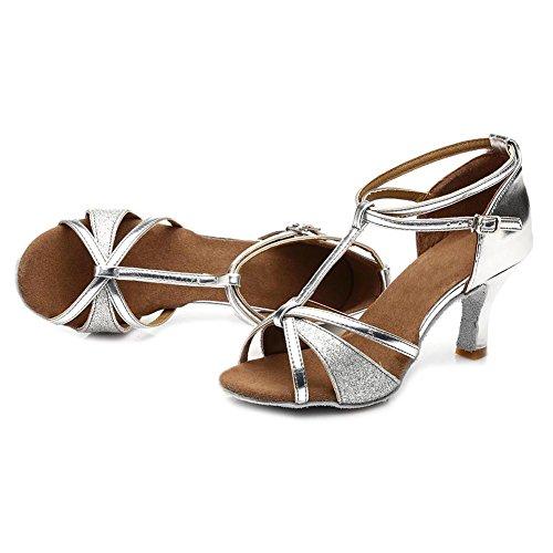 Danse Femmes 7cm Chaussures 255 HROYL Argent Satin Ballroom de Danse Latine de Chaussures Modèle taEUqHw7