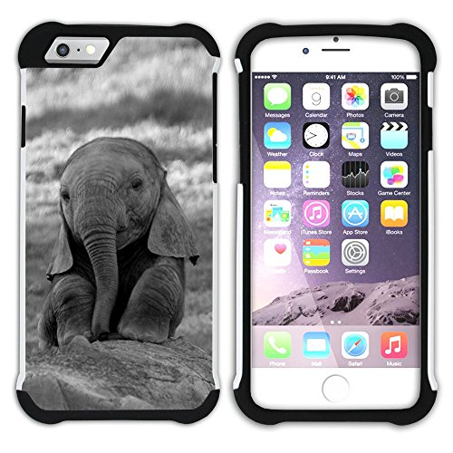 Graphic4You Cute Baby Elephant Animal Design Armor Protector Tough Rugged Durable Hybrid Soft Hard Case Cover for Apple iPhone 6 Plus / 6S Plus