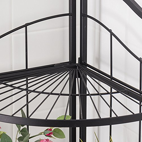 LIANGLIANG Iron Corner Flower Rack Pot Shelf Plant Ladder Floor Display Stand Metal 3-Tier Folding Indoor Living Room Balcony Black, 41.63285.7cm by LLDHUAJIA (Image #4)