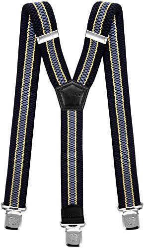 - Mens Suspenders Wide Adjustable and Elastic Braces Y Shape with Very Strong Clips - Heavy Duty (Navy Blue Yellow Light Blue)