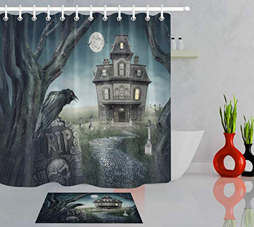 LB Scary Haunted House Crow Dark Tree RIP Grave Skull Halloween Horror Night Decor Bathroom Set, 70x70 Shower Curtain Waterproof Mildew Free, 15x23 in Indoor -