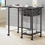 1PerfectChoice Accent Computer Office Home Folding Desk w/ Casters Storage Tray Shelf in Black