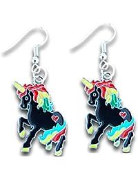 Enamel Unicorn Charm Dangle Earrings by Pashal
