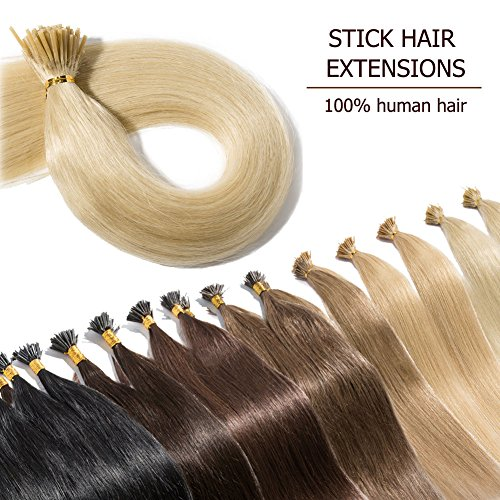 100 Strands I Tip Hair Extensions Human Hair Highlight Plati