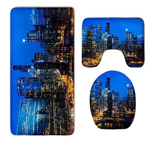 EnmindonglJHO USA Chicago Skyline Night View Super Cute 3 Piece Bathroom Rug Set Bath Rug, Contour Mat, Lid Cover Non-Slip with Rubber Backing