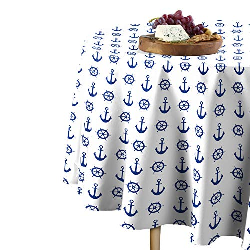 Fabric Textile Products Nautical Anchors & Wheels Tablecloth 60