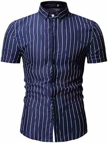 Dreamtao Men Casual Shirt Summer Short Sleeve Mens Plaid Shirts
