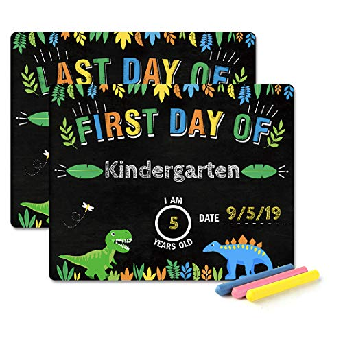 MORDUN First Day of School Chalkboard - Dinosaur Theme First and Last Day of School Chalkboard Sign Photo Prop - 1st Day Back to School Sign - Reversible Reusable - Use Chalk to Personalize (Included) -