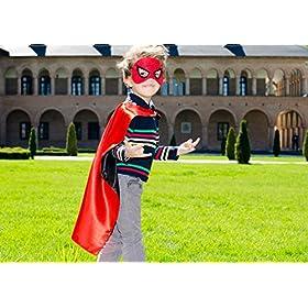 - 51crFKkP9xL - Superhero Capes for Kids, Girls & Boys   Pretend Play 2 Reversible Capes & 4 Masks Halloween, Birthdays Party Favors