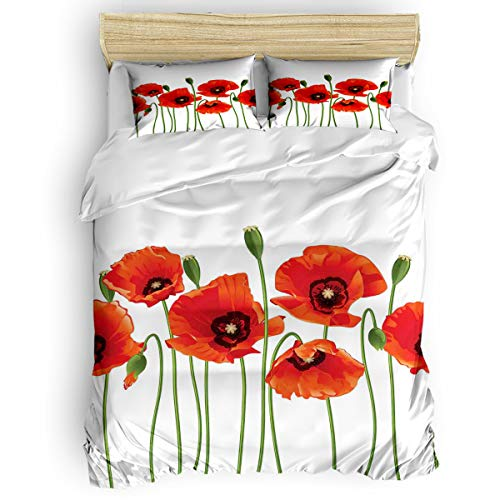 - Floral Bedding Duvet Cover 4 Piece Set, Poppies of Spring Season Pastoral Flowers Botany Bouquet Field Nature Theme Art Design, Hypoallergenic Microfiber Comforter Cover and 2 Pillow Cases - King
