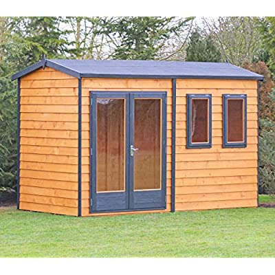 Shire 12x10ft Garden Office Summer House Shed Brown