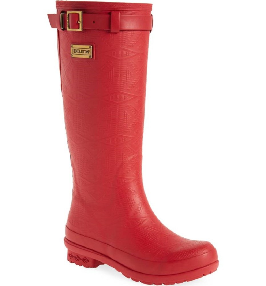 Womens Heritage Embossed Tall Rain Boots- By Pendleton B07B3GG2KW 6|Scarlet