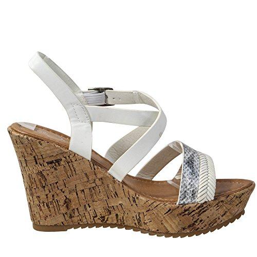 Schuhtraum Damen Sandalen Keilabsatz Sandaletten Wedge High Heels Plateau  ST011 Weiß ... 0cd8ac2020